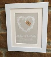 Personalised Mother of the Bride, Mother of the Groom Print, Framed, great gift