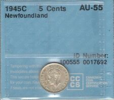 1945c Newfoundland Five Cents Silver CCCS AU-55 * Beautiful WWII George VI Nfld.