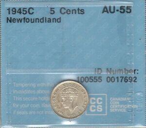 1945c Newfoundland Five Cents Silver CCCS AU-55 AU-UNC Beauty George VI Nfld. 5¢