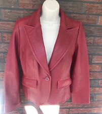 Red Leather Blazer Small Front Pockets Button Front Sleeve Edge Vintage Classy