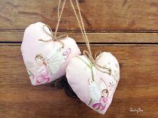 2 PADDED DOOR HANGER HEARTS IN SANDERSON FAIRYLAND PINK FABRIC 💕