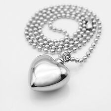 Stainless Heart Cremation Ash Urn Keepsake Pendant Memorial Necklace Silver