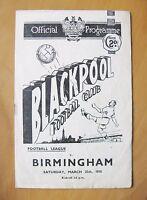 BLACKPOOL v BIRMINGHAM CITY 1949/1950 *VG Condition Football Programme*