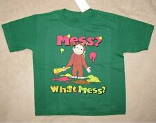 CURIOUS GEORGE *What Mess?* Green S/S Tee T-Shirt Toddler sz 2T
