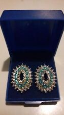 SPARKLY Debenhams Blue & Clear CRYSTALS Oval Earrings/Studs. NEW in Gift Box****