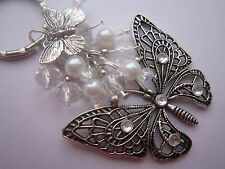 Keyring / Bag Charm - Tibetan Silver Filigree Butterfly - White Pearl & Crystal