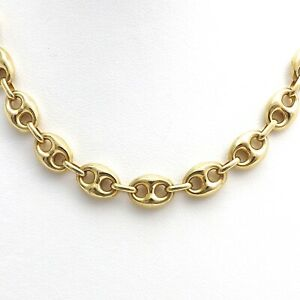 18k Gold 750 Italy Puffy Gucci Mariner Anchor Link Pendant Chain Necklace New