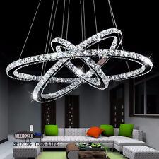 Modern Galaxy LED K9 Crystal 2/3 Rings Pendant Light Lamp DIY Circel Chandelier