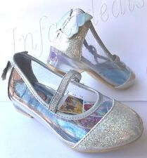 Kids New Disney Princess Cinderella silver clear glitter shoes slippers size 13