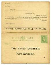 EDVII 1907 National Fire Brigades Union Stationery Reply Postcard