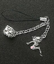 Cell Phone Strap Charm Dangle Crystal Dice Silver Enamel Lady Christmas Gift