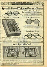1929 PAPER AD Eye Glass Glasses Zylonite Frames Shell Store Display Set Compass