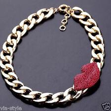Statement Halskette Collier Rote Lippen Mund mit Swarovski Kristallen 18K Gold
