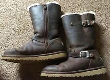 Uggs Size 4 Brown Nubuck Leather/sheepskin Genuine Kennsington Boots