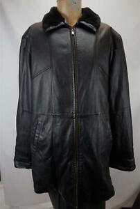 Wilsons Men's Leather Coat Faux Fur Lined Overcoat Black XL