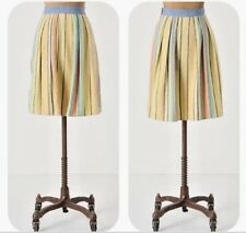 ANTHROPOLOGIE Skirt Sz 8 Odille Pale Bright Striped Chambray
