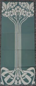 GERMANY - VILLEROY & BOCH - ANTIQUE ART NOUVEAU MAJOLICA 10 TILE SET  C1900