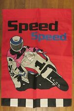 """""""Speed Speed"""" Motorcycle Racing, Bike, Translucent Mask appliqued HOUSE flag"""