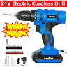 21V Cordless Rechargeable Battery Electric Drill Impact Screwdriver 18+1 Torque