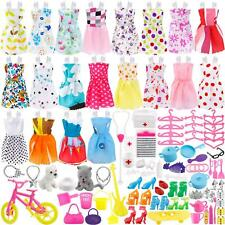 135 Pcs Barbie Doll Clothes Party Gown Outfits Shoes Bags Necklace Toy Accessory