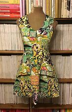 Rare ARROGANT CAT baroque green print fit flare mini dress UK 8 / US 4 pockets