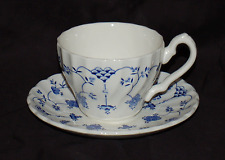 One Myott Staffordshire Cup and Saucer Set  Finlandia Blue and White