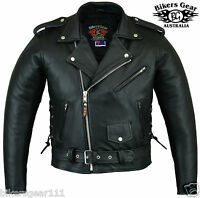 NEW MENS CLASSIC BRANDO BIKER MOTORCYCLE JACKET A GRADE LEATHER SMALL - 10XL