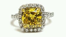 GIA Certificate 3.50ct Fancy Deep Yellow Color Si2 Clarity Plat Engagement Ring