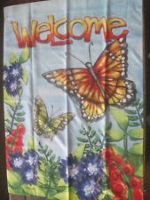 CLOTH GARDEN DECOR WELCOME FLAG WITH BUTTERFLIES AND FLOWERS
