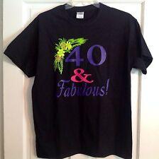 "Women's Unisex Gildan ""40 & Fabulous"" Black Green Yellow Purple Pink Size Large"