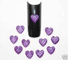 10 Bijoux pour deco ongle COEURS 3D Violet 6mm Nail Art
