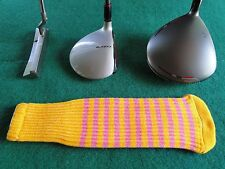 Knitted zebra style Fairway & Driver Golf head cover / New Gold / Bubble Gum