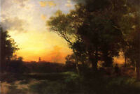 Oil painting Thomas Moran - Mexican Landscape near Cuernavaca at sunset forest