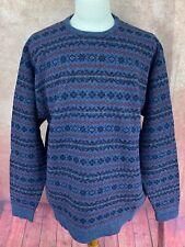 Pendleton 100% Pure Virgin Wool Crewneck Pullover Sweater Blue Maroon Men's XL