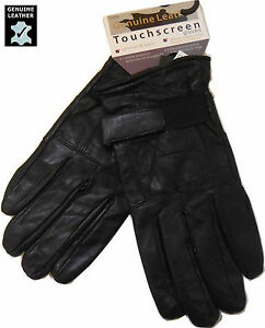 LEATHER REAL MENS BLACK TOUCH SCREEN THERMAL INSULATED FLEECE LINED GLOVES
