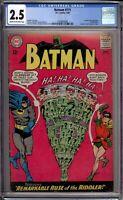 Batman 171 CGC Graded 2.5 GD+ 1st Silver Age Riddler DC Comics 1965