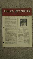 Original Factory Philco 48-1290 Radio Phonograph D-10A Service Repair Manual