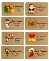 x 24 PERSONALISED CHRISTMAS  NAME STICKERS LABELS GIFT TAG PRESENT WRAPPING SEAL