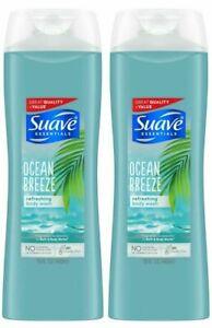 Lot of 2~Suave Essentials Ocean Breeze Body Wash 15 oz Each w/free pouf