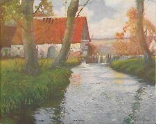 """Mill Stream"" Water Wheel, Tree, Cottage, Fas U.S.A. Salesman Sample Print 1940s"