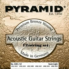 Pyramid 12-Cuerdas Acústica Premium Bronce Guitarra cuerdas KIT Juego