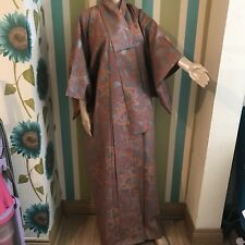 Authentic Japanese Kimono Orange Grey Silver Unisex One Size Cosplay 8 10 12 14