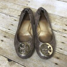 0ab51ca1dd56 Tory Burch Reva Snakeskin Reptile Ballet Flats 8 Gold Leather Gold Logo  Buckle