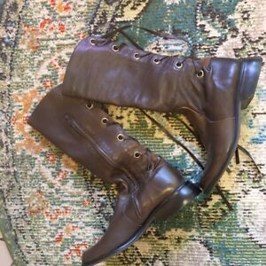 J.Jill Brown Lace Up Zipper Leather Riding Tall Boots