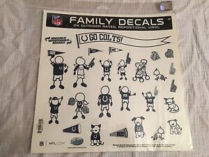 NFL Indianapolis Colts Football Family Stickers Large 11 x 11 Set Automotive Car