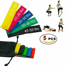 Set of 5 Elastic Resistance Loop Bands Exercise Sports Fitness Home Gym Yoga