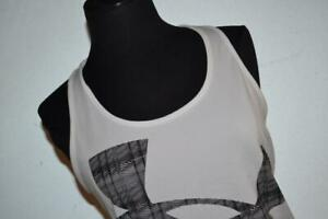 27323-a Womens Under Armour Gym Shirt Tank Top Size Medium White Polyester