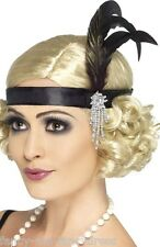 Ladies 1920s Charleston Flapper Satin Bead Feather Hairband Fancy Dress Costume