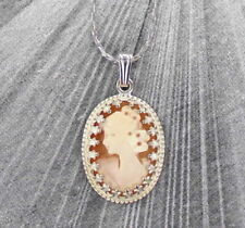 Vintage Hand Carved Shell Cameo Pendant Necklace Sterling Silver Setting w Chain
