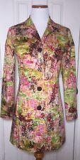 Art to Wear Jacket French Riviera Artscape Rain Trench Coat Sz 2  Dandi Andi M